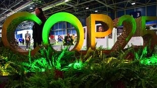 The logo of the UN climate summit (COP 25) in Madrid, Spain.